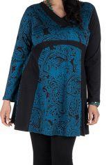 Tunique grande taille à manches longues Bleue avec col en V et imprimés originaux Nadim 300498