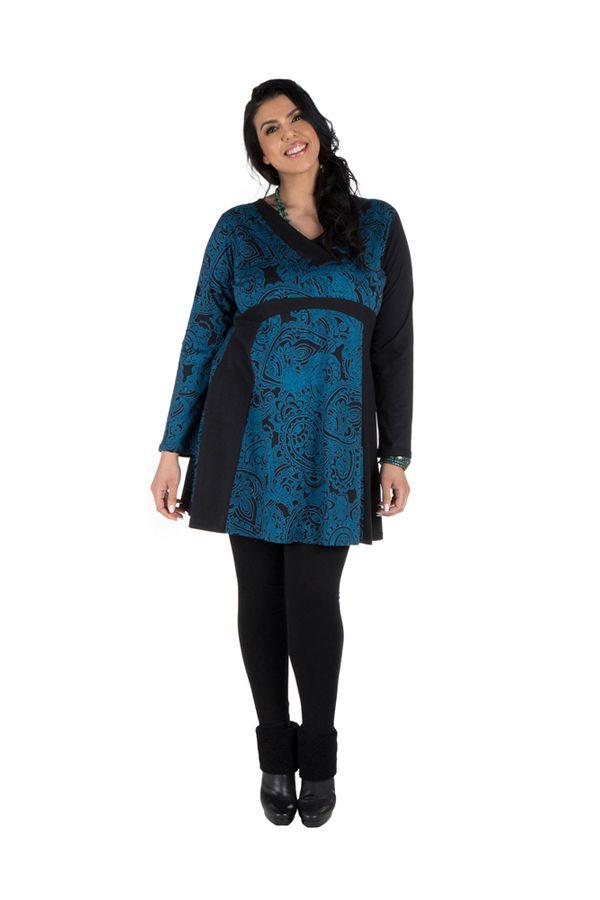 Tunique grande taille à manches longues Bleue avec col en V et imprimés originaux Nadim 300499
