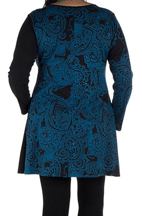 Tunique grande taille à manches longues Bleue avec col en V et imprimés originaux Nadim 300500