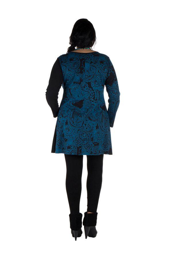 Tunique grande taille à manches longues Bleue avec col en V et imprimés originaux Nadim