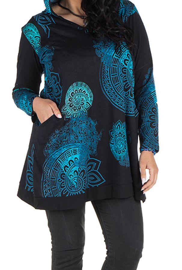 Tunique grande taille à manches longues Bleue avec motifs et capuche Anouck 300746