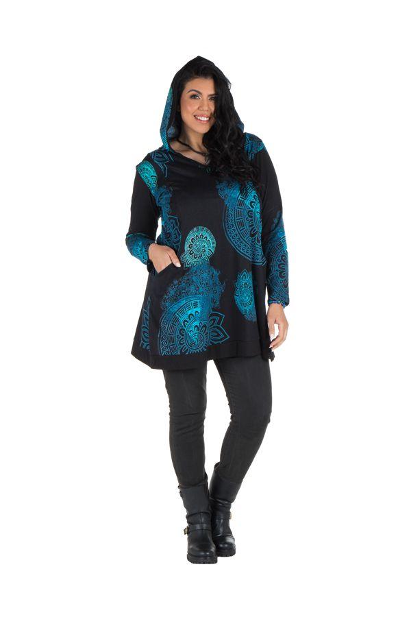 Tunique grande taille à manches longues Bleue avec motifs et capuche Anouck 300747