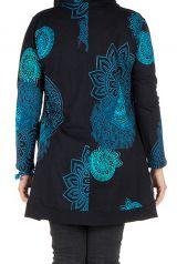 Tunique grande taille à manches longues Bleue avec motifs et capuche Anouck 300748