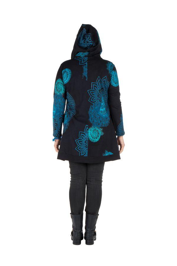 Tunique grande taille à manches longues Bleue avec motifs et capuche Anouck 300749