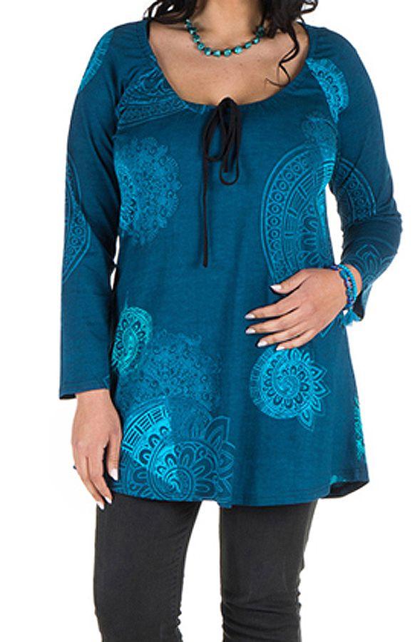 Tunique grande taille à manches longues Bleue avec motifs féminins et joli noeud Danaé 300159