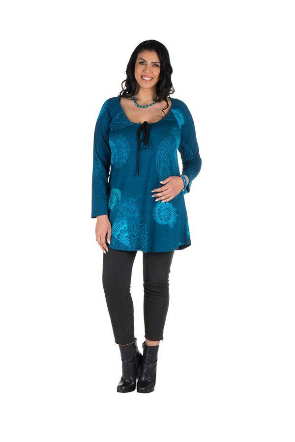 Tunique grande taille à manches longues Bleue avec motifs féminins et joli noeud Danaé 300160