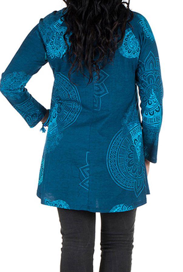 Tunique grande taille à manches longues Bleue avec motifs féminins et joli noeud Danaé 300162
