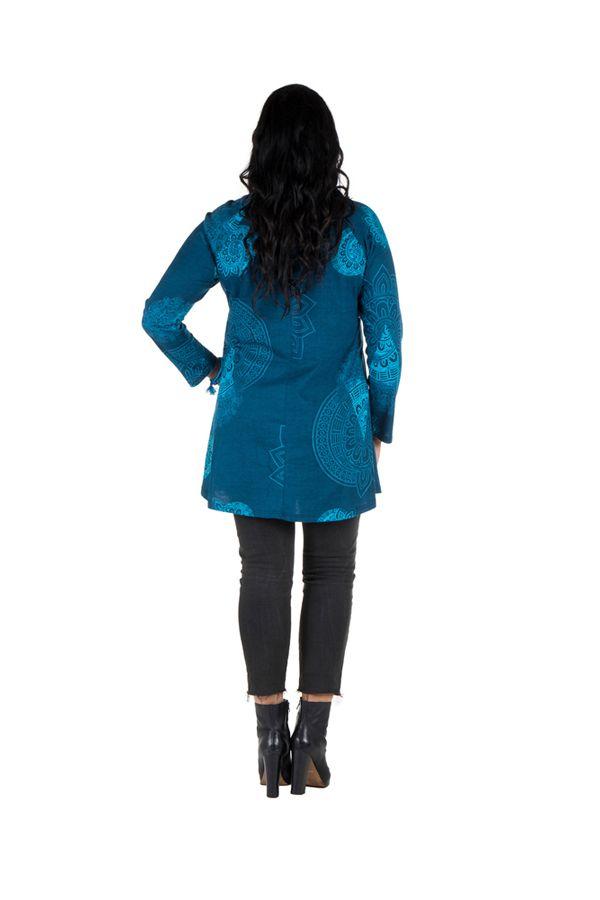 Tunique grande taille à manches longues Bleue avec motifs féminins et joli noeud Danaé