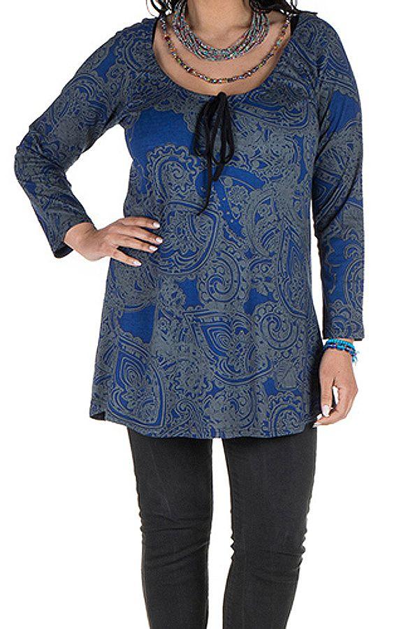 Tunique grande taille à manches longues Bleue imprimée avec col noué Esmée 300122