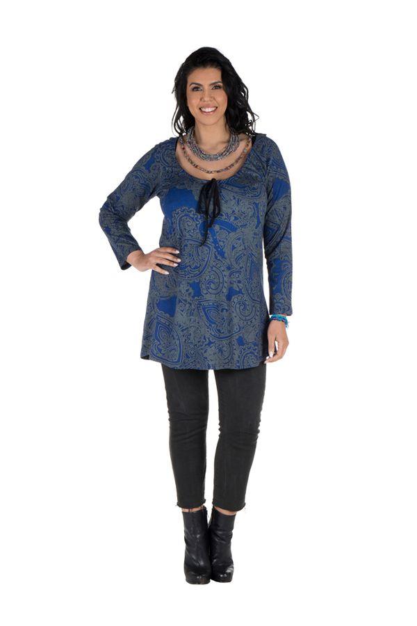 Tunique grande taille à manches longues Bleue imprimée avec col noué Esmée 300123