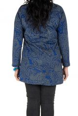Tunique grande taille à manches longues Bleue imprimée avec col noué Esmée 300124