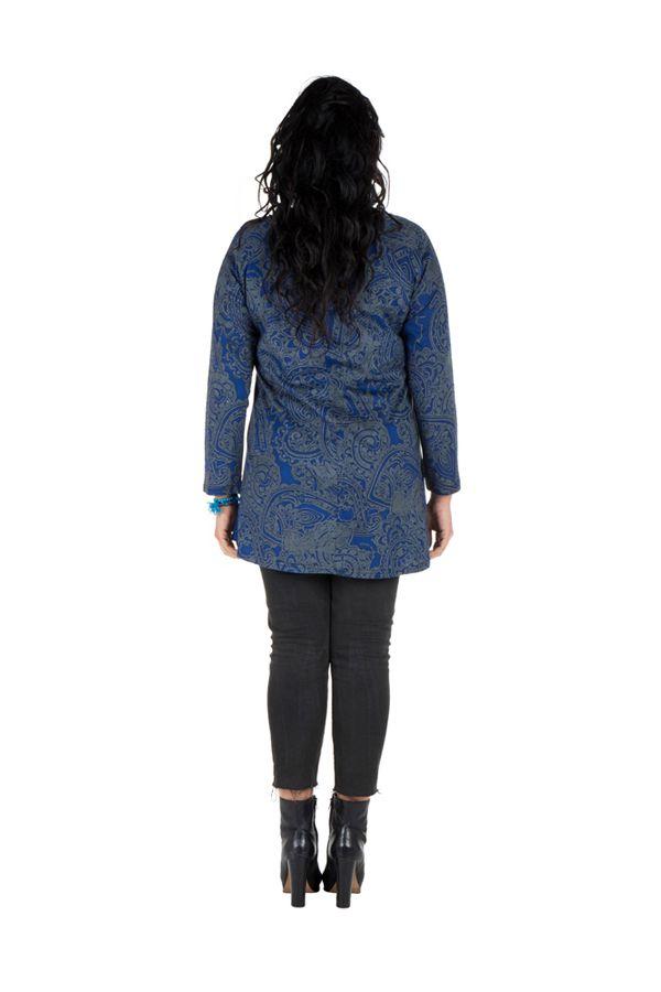 Tunique grande taille à manches longues Bleue imprimée avec col noué Esmée 300125