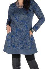 Tunique grande taille à manches longues Bleue imprimée avec poches Néal 300204