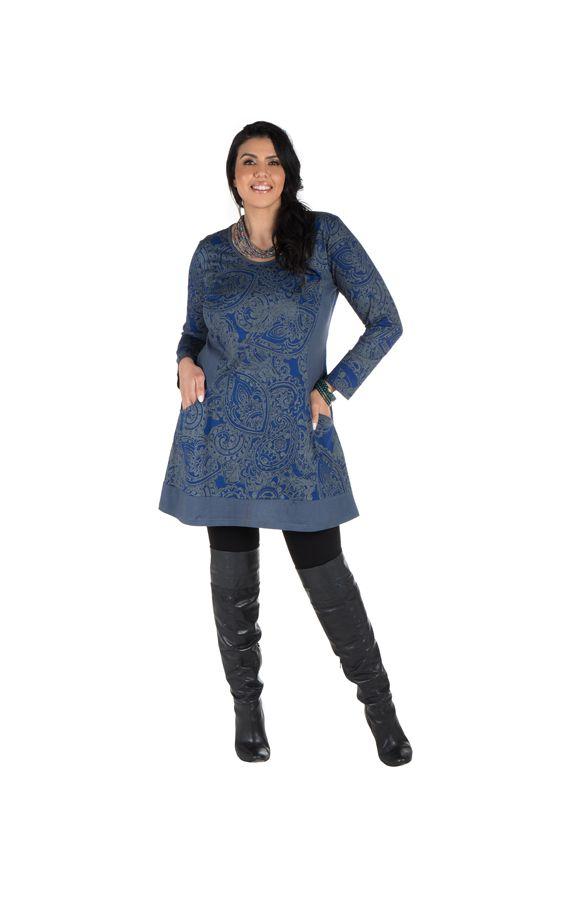 Tunique grande taille à manches longues Bleue imprimée avec poches Néal 300205