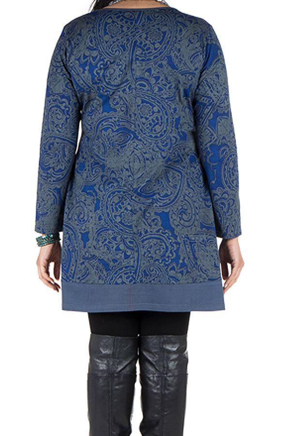 Tunique grande taille à manches longues Bleue imprimée avec poches Néal 300206