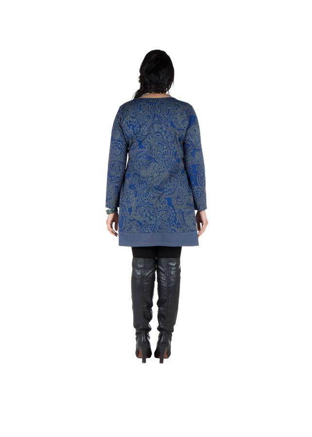 Tunique grande taille à manches longues Bleue imprimée avec poches Néal 300207