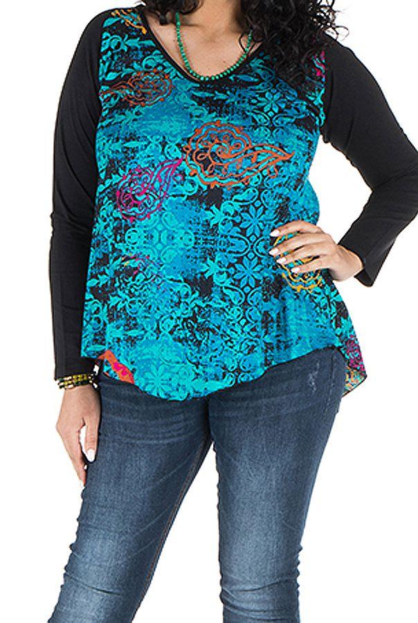 Tunique grande taille à manches longues Bleue originale et colorée Bérénice 300363
