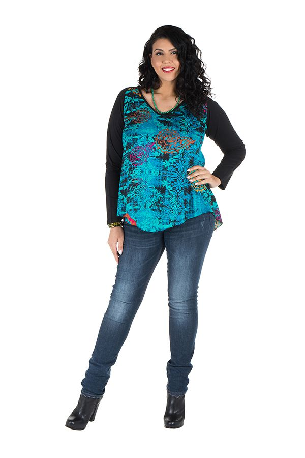 Tunique grande taille à manches longues Bleue originale et colorée Bérénice 300364