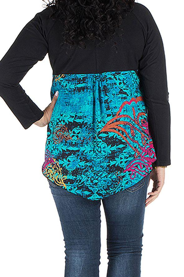 Tunique grande taille à manches longues Bleue originale et colorée Bérénice 300365
