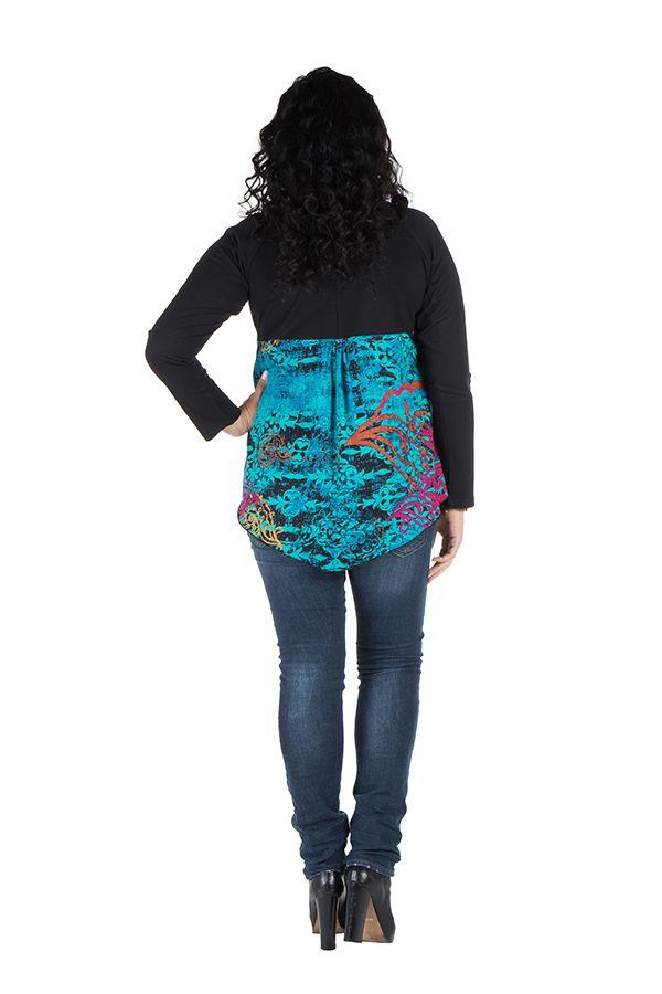 Tunique grande taille à manches longues Bleue originale et colorée Bérénice