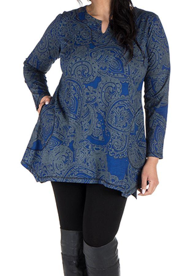 Tunique grande taille à manches longues Bleue tendance et féminine Leya 300188