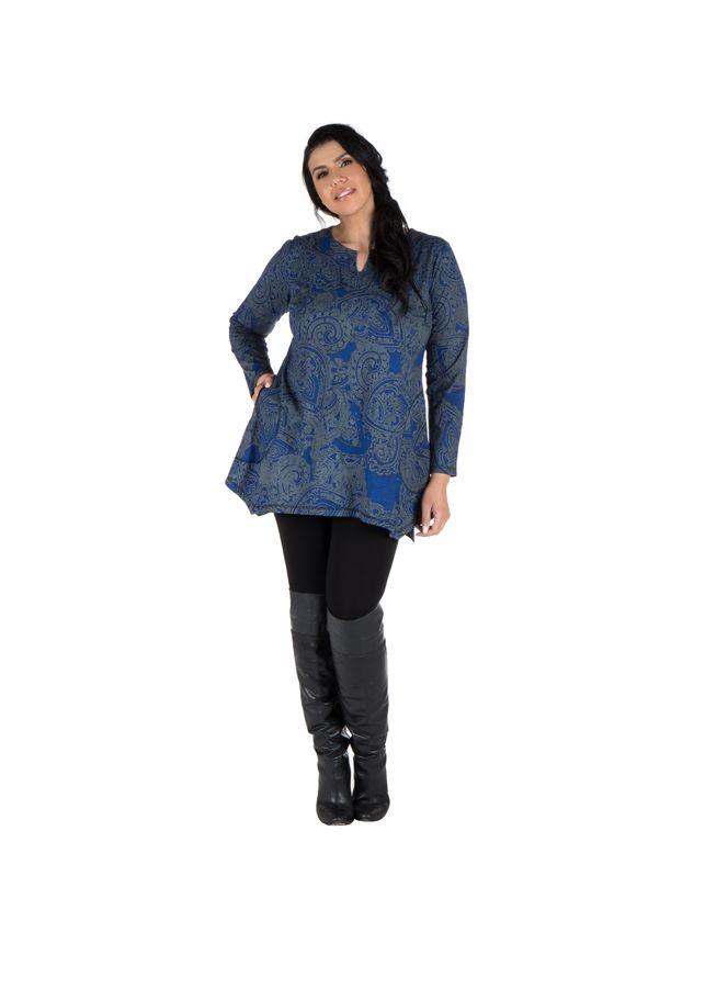 Tunique grande taille à manches longues Bleue tendance et féminine Leya 300189
