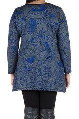 Tunique grande taille à manches longues Bleue tendance et féminine Leya 300190