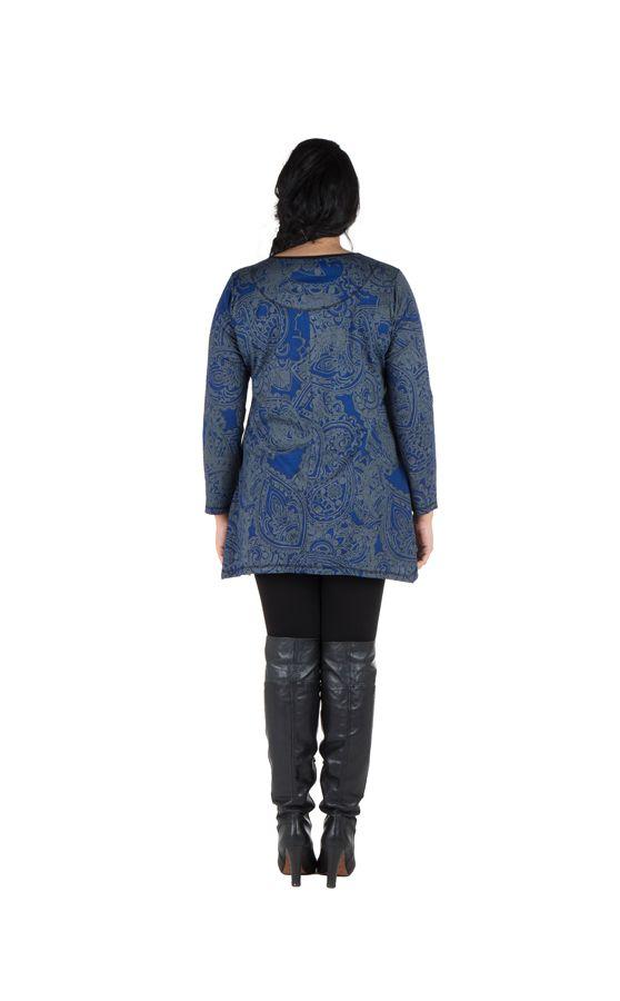 Tunique grande taille à manches longues Bleue tendance et féminine Leya 300191