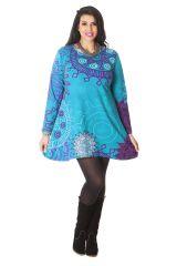 Tunique Grande taille à manches longues Ethnique Ninon Turquoise 286597