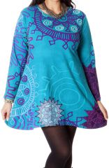 Tunique Grande taille à manches longues Ethnique Ninon Turquoise 286713