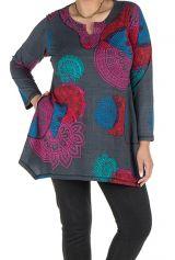 Tunique grande taille à manches longues Grise avec imprimés colorés et col original Issa 300180