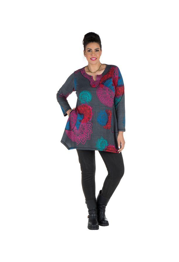 Tunique grande taille à manches longues Grise avec imprimés colorés et col original Issa 300181