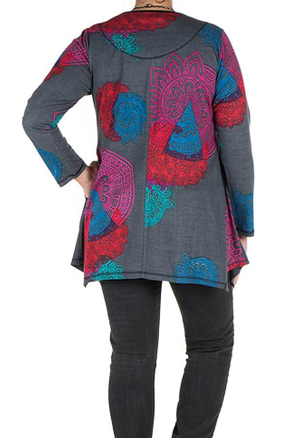 Tunique grande taille à manches longues Grise avec imprimés colorés et col original Issa 300182