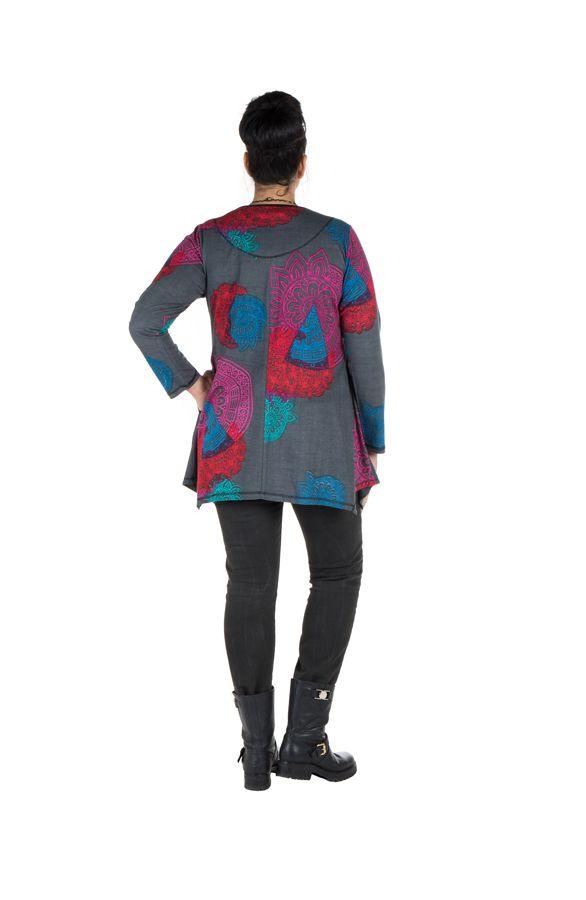 Tunique grande taille à manches longues Grise avec imprimés colorés et col original Issa 300183