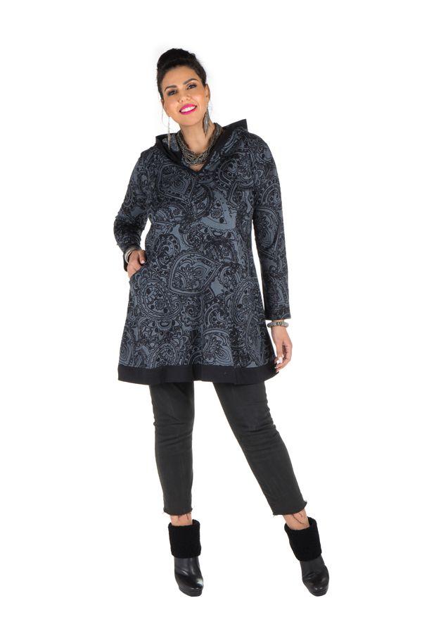 Tunique grande taille à manches longues Grise imprimée avec capuche Elvira 300723