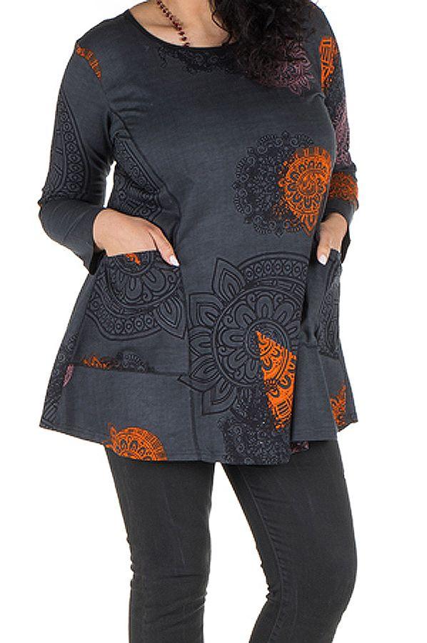 Tunique grande taille à manches longues Grise imprimée avec poches Marianna 300759