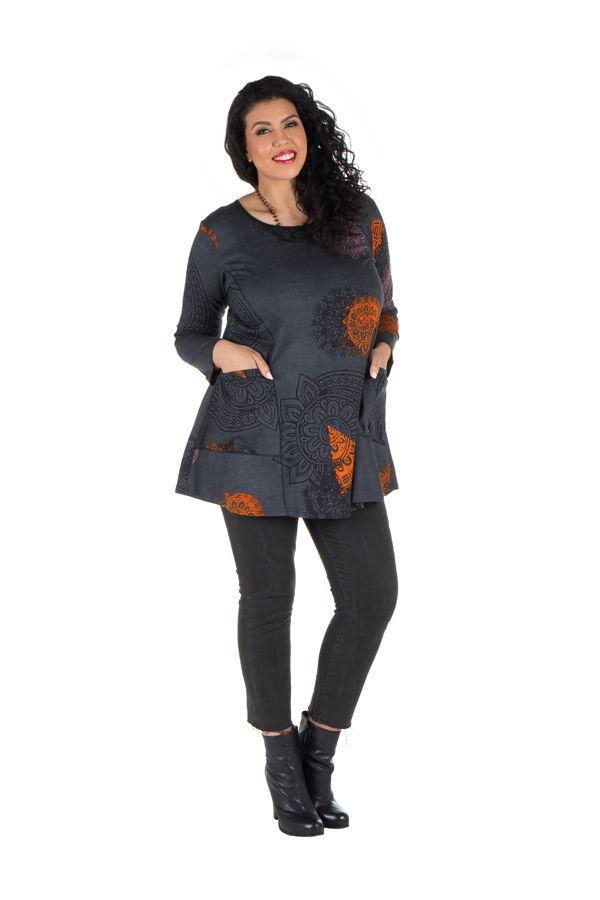 Tunique grande taille à manches longues Grise imprimée avec poches Marianna 300760