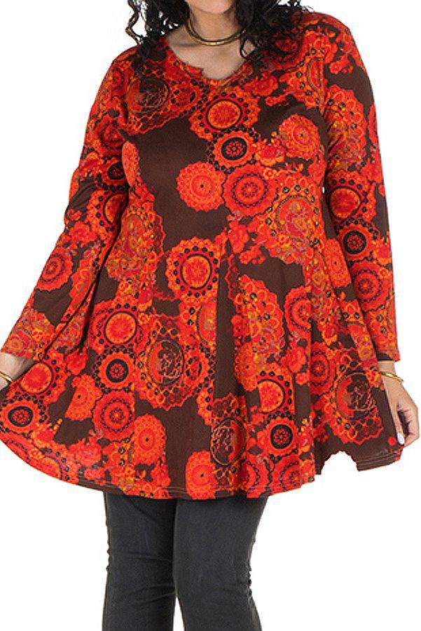Tunique grande taille à manches longues Marron évasée avec motifs tendances rouges Opale 300114