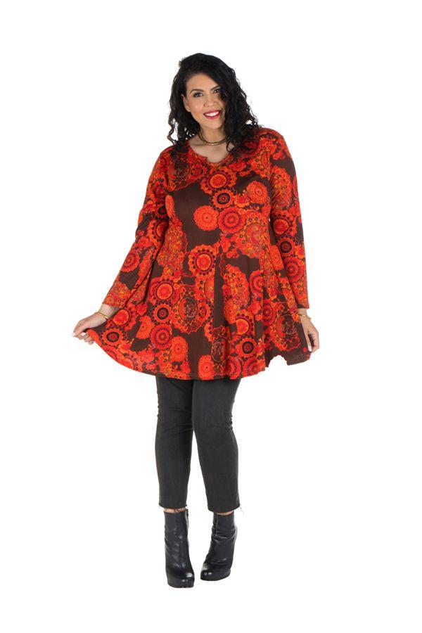 Tunique grande taille à manches longues Marron évasée avec motifs tendances rouges Opale 300115