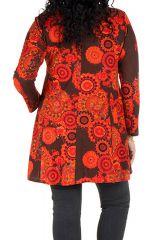 Tunique grande taille à manches longues Marron évasée avec motifs tendances rouges Opale 300116