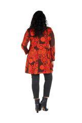 Tunique grande taille à manches longues Marron évasée avec motifs tendances rouges Opale
