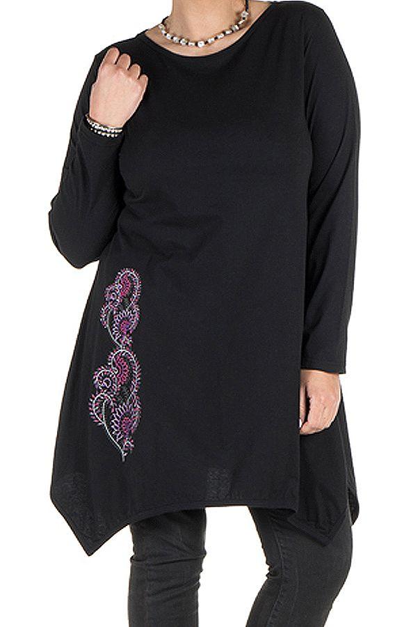 Tunique grande taille à manches longues Noire avec imprimé style arabesque et col rond Cyana 300036