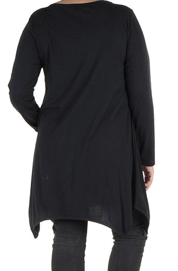 Tunique grande taille à manches longues Noire avec imprimé style arabesque et col rond Cyana 300038