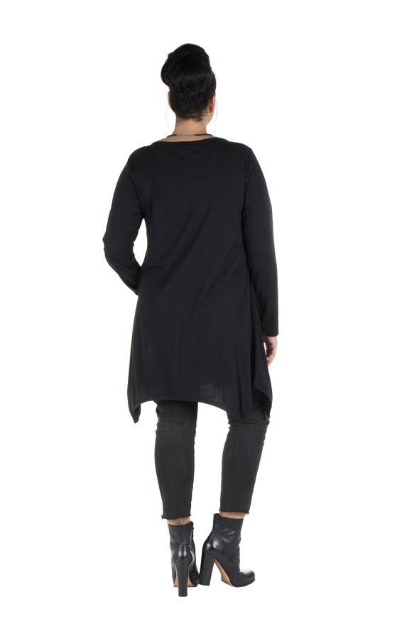 Tunique grande taille à manches longues Noire avec imprimé style arabesque et col rond Cyana