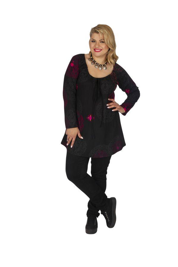 Tunique grande taille à manches longues noire et rose Saida 313471