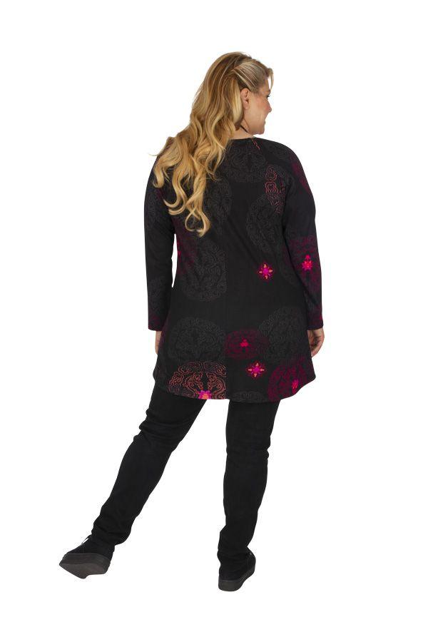 Tunique grande taille à manches longues noire et rose Saida 313472