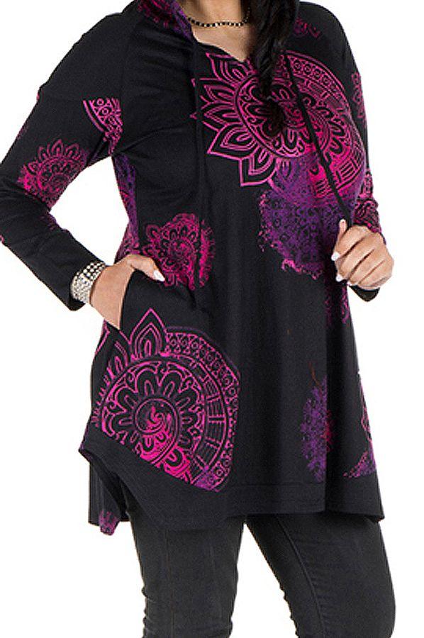 Tunique grande taille à manches longues Noire imprimée avec capuche Holly 300584