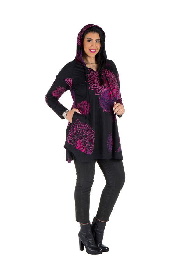 Tunique grande taille à manches longues Noire imprimée avec capuche Holly 300585