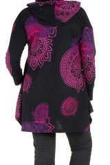 Tunique grande taille à manches longues Noire imprimée avec capuche Holly 300586