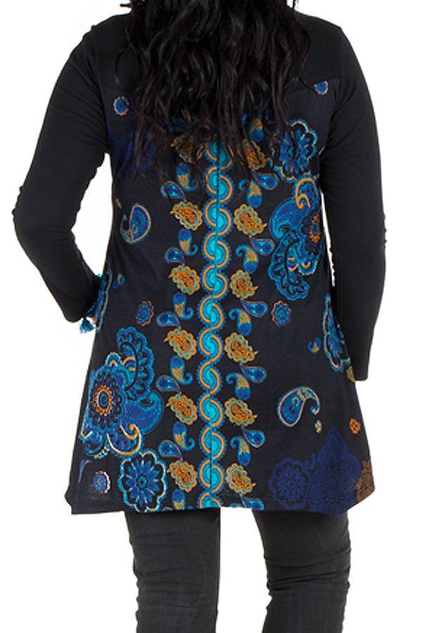 Tunique grande taille à manches longues Noire imprimée avec col rond Léda 300709